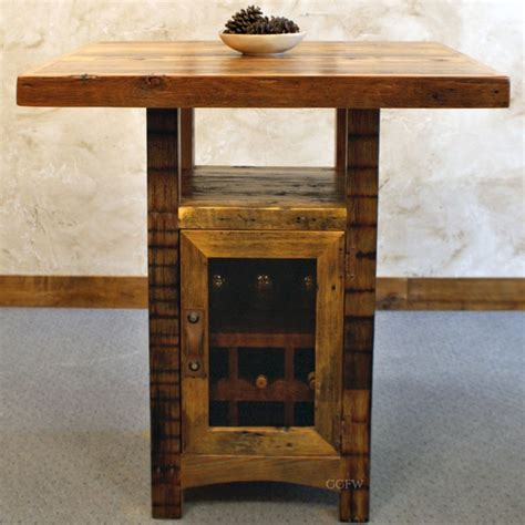 reclaimed wood pub table a pub table with wine storage in the center made from re