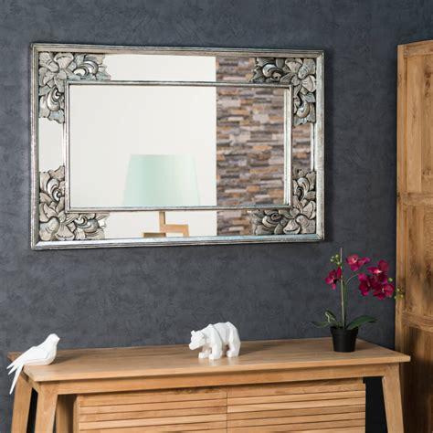 m miroir miroir de d 233 coration en bois massif mathilde carr 233 bois patin 233 argent d 1 m 10 x 70 cm