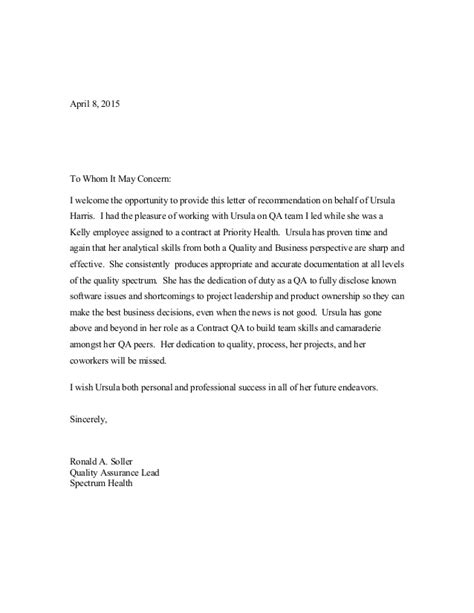 Thank You Letter Quality Assurance qa recommendation letter