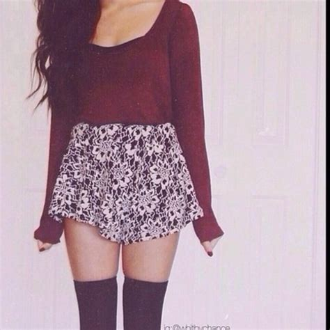 skirt sweater thigh highs printed skirt burgundy