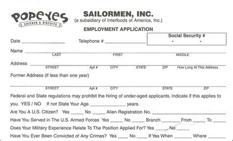 printable job application popeyes popeyes application pdf print out