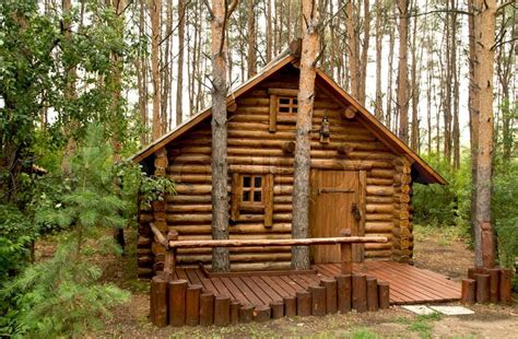 Plans For Building A Cabin wooden house in the woods stock photo colourbox