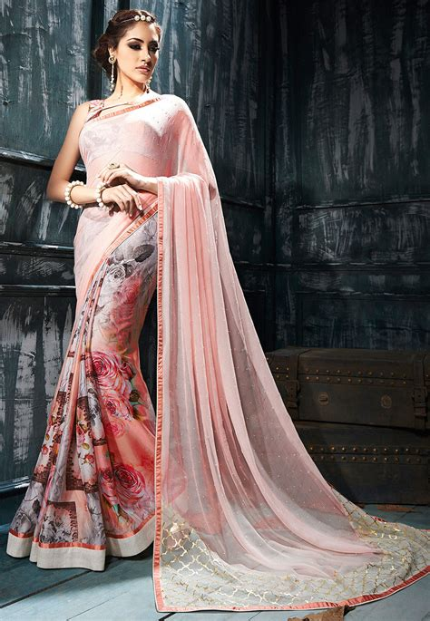 digital printed chiffon saree  peach snba