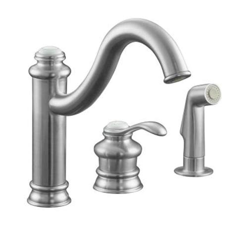 3 hole kitchen faucets kohler fairfax 3 hole single handle mid arc side sprayer