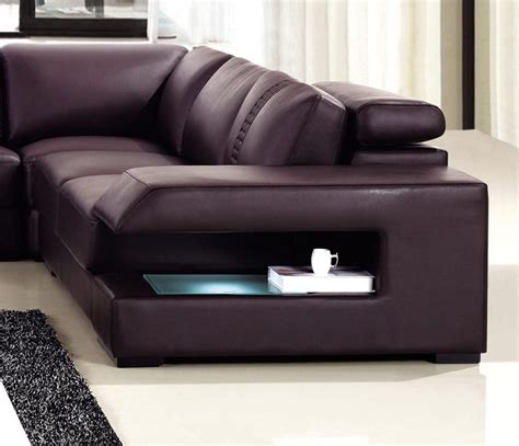 sofa with lights brown leather sectional sofa with built in coffee table