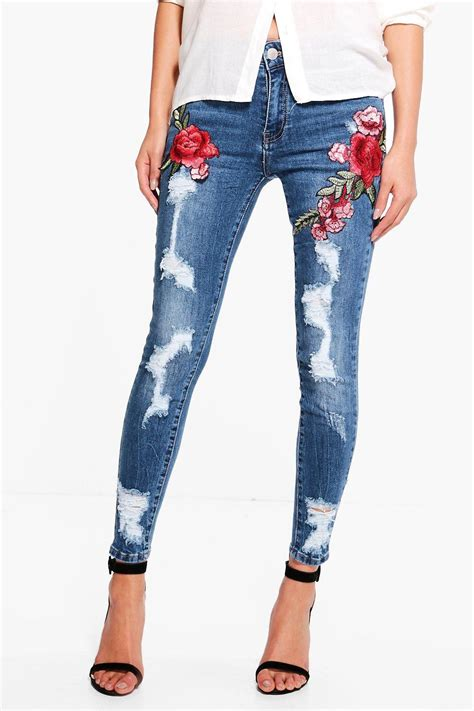 Embroidered Distressed jen distressed embroidered at boohoo