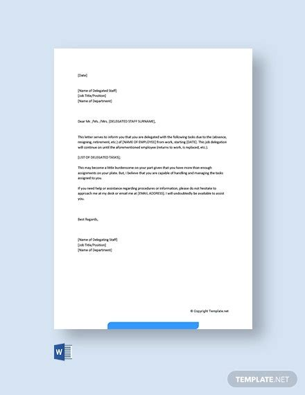 authority delegation letter template word