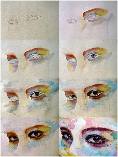 tutorial drawing watercolor watercolor eye study step by step by jane beata on deviantart