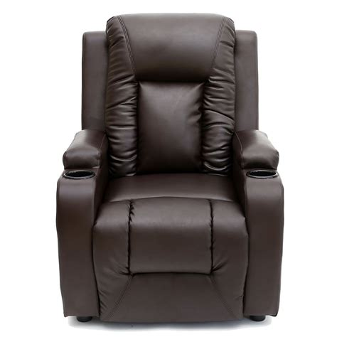 gaming sofa chair oscar brown leather recliner w drink holders armchair sofa