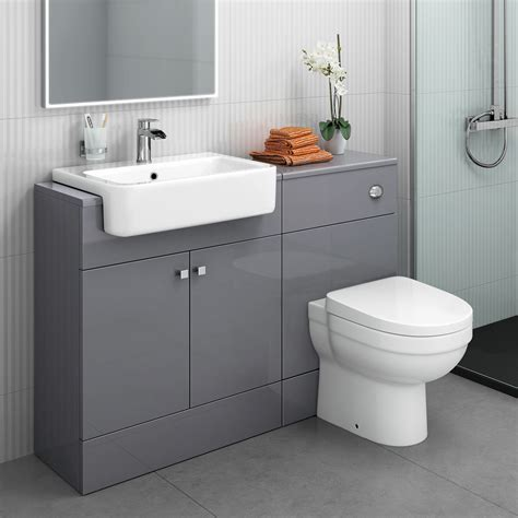 Combined Bathroom Vanity Units by Model K64 Lr K63 1167mm Gloss Grey Combined Vanity