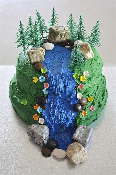 Fun Fall Decorating Ideas - waterfall scene birthday cake be a fun mum