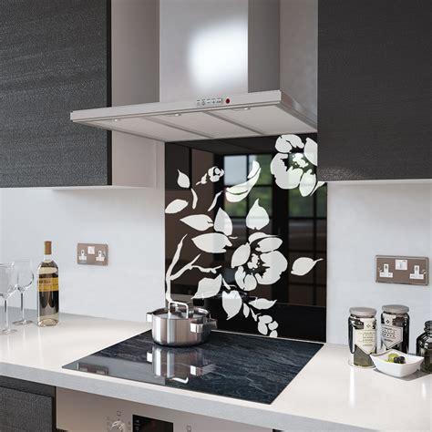 White Flower Kitchen by Premier Range Black Floral Toughened Safety Glass Splashback