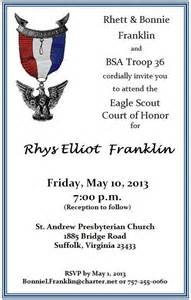 Eagle Scout Court Of Honor Invitation Template by Rhys Franklin Eagle Court Of Honor Troop 36