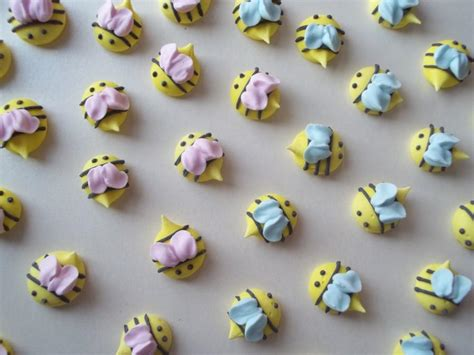 Icing Decorations by Royal Icing Baby Shower Bees Handmade Cupcake Toppers