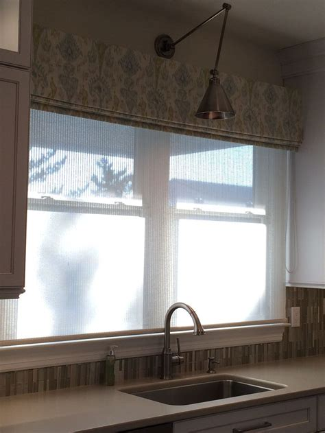 Kitchen Sink Window Ikat Fabric Valance Translucent Woven Shade On Kitchen Sink Window Library Sconce Task