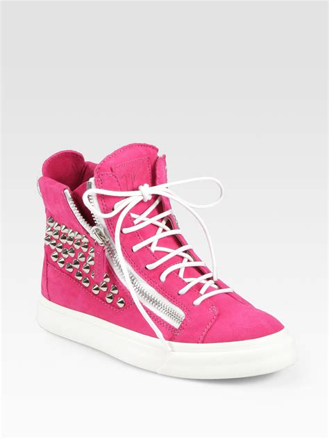 lyst giuseppe zanotti studded suede wedge sneakers  pink
