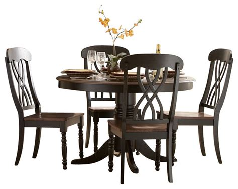 Ohana Dining Table Homelegance Ohana 5 Dining Table Set In Black Warm Cherry Transitional Dining
