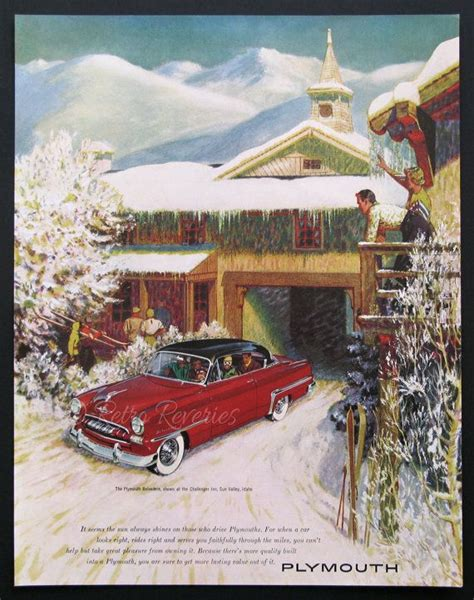 plymouth ski lodge vintage 1953 plymouth ad plymouth belvedere winter