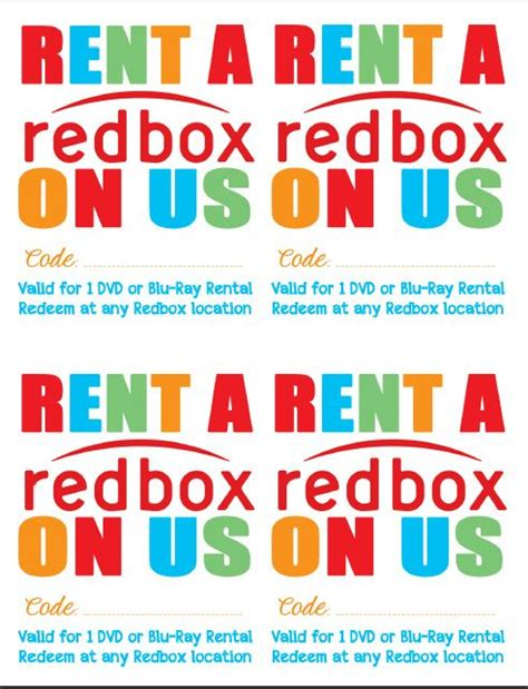 redbox printable gift certificates 17 best ideas about redbox movies on pinterest free