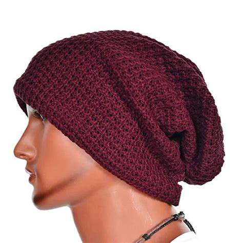 mens knit caps knit beanie hat baggy slouchy winter warm skull