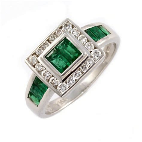 platinum emerald square cluster ring from mr