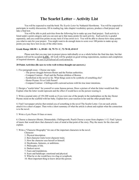Essay Topics For The Scarlet Letter by Essay Questions For The Scarlet Letter