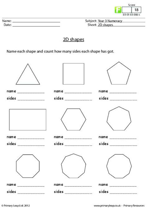 printable two dimensional shapes worksheets 2d shapes primaryleap co uk