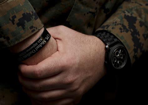 usmc kia bracelets of bracelets and bits of colored ribbon earned or