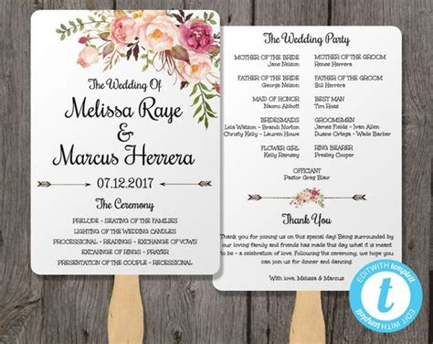 program card wedding template wedding program fan template bohemian floral instant by