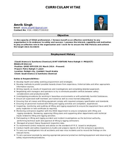 Safety Advisor Sle Resume by Qhse Safety Advisor Cv