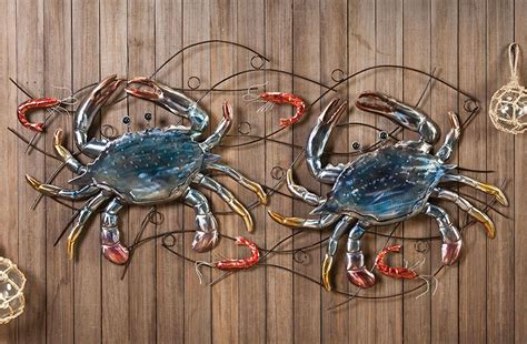 crab decorations for home metal crab and shrimp wall decor