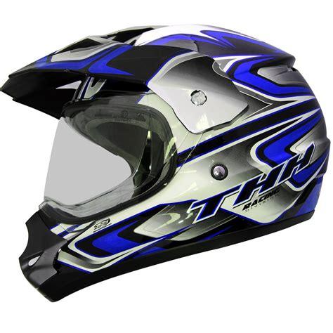 thh motocross helmet thh tx 13 3 black blue dual sport helmet mx motocross atv