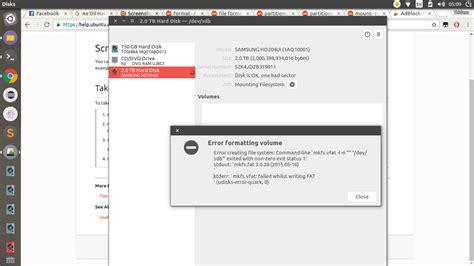 format hard disk problem how to format an external hard disk ask ubuntu