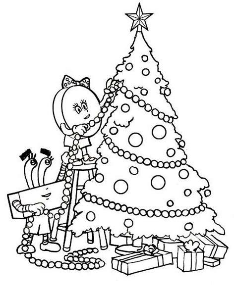 Decorating A Christmas Tree On Christmas Coloring Page Decorated Tree Coloring Page