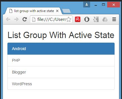 format html php class create list group with active state item using bootstrap
