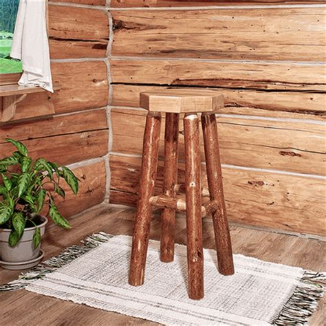 Pine Log Bar Stools by Amish Quot Glacier Quot Pine Log Bar Stool