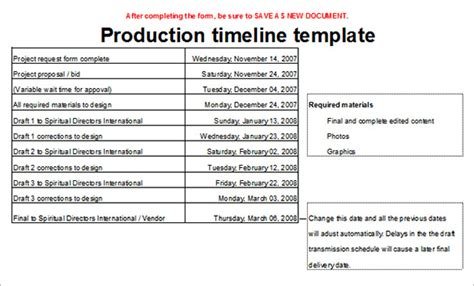 production checklist template 7 production timeline templates free excel pdf format