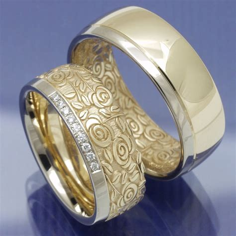 Eheringe Gold 585 Günstig by 1 Paar Besondere Trauringe Eheringe Rosenmuster 585