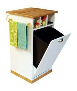 kitchen island with garbage bin pantry tower w butcher block top cart kitchen island