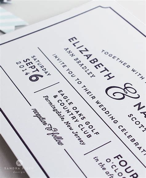 Modern Wedding Invitations by Caroline Modern Wedding Invitation In Flat Print Or