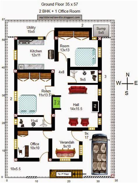 3bhk house plan my little indian villa