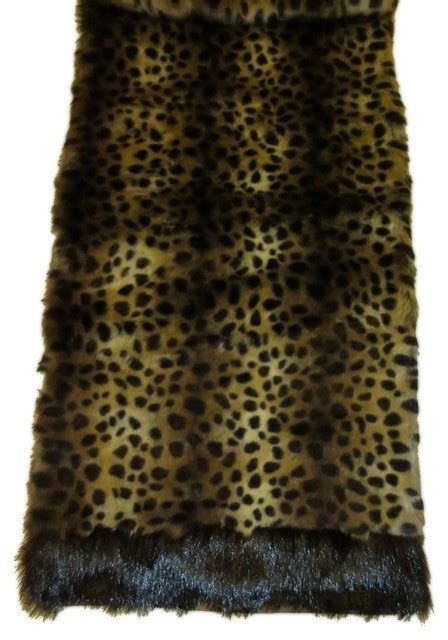 Fur Runner Rug D Faux Leopard Fur Runner With Faux Mink Trim 14 Quot X72 Quot View In Your Room Houzz
