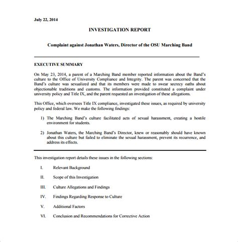 investigation report template sle investigation report template 13 free documents