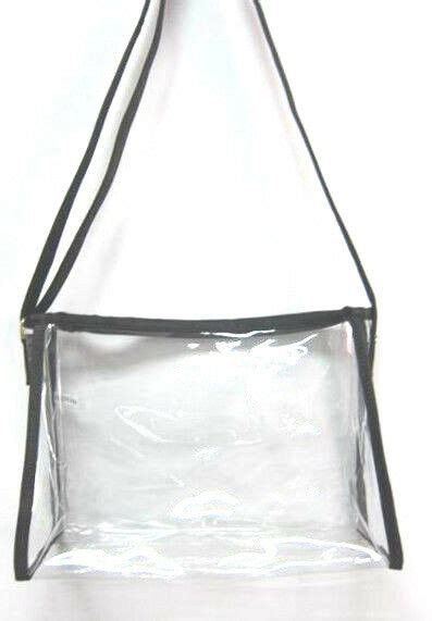 clear purse handbag black messenger sling see through security jelly plastic new ebay