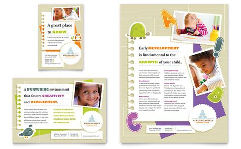 nursery brochure templates free kindergarten flyer ad template design