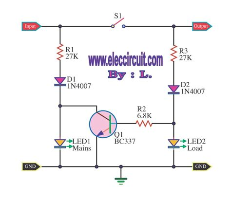 mains voltage indicator with a led electronic projects