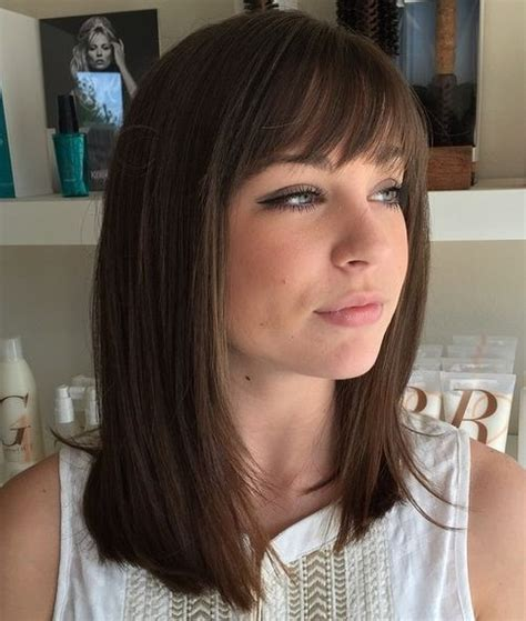 hairstyles for straight hair with bangs 40 best medium straight hairstyles and haircuts stylish