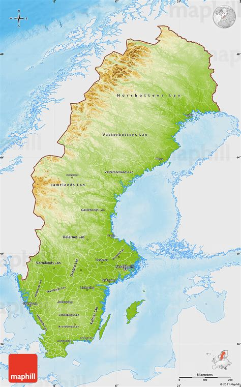 physical map of sweden schweden physik karte