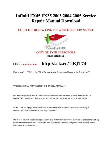 service repair manual free download 1992 infiniti m user handbook infiniti fx45 fx35 2003 2004 2005 service repair manual free download