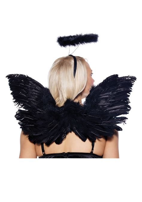 dark halo  angel wings black angel costume accessory set